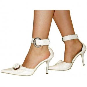 D - Slingpumps in weiss mit Strass