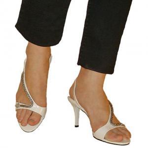 EB - Sandals mit Schlangen Kette weiss