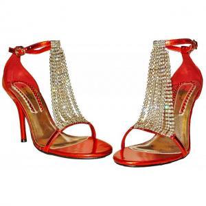 BA - Sandals in Rot mit Strassgehänge