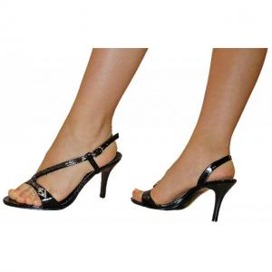 EA - Sandals mit Schlangen Kette schwarz