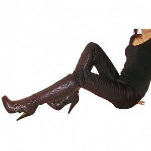 BB - Echt Leder Stiefel schwarz Carrémuster